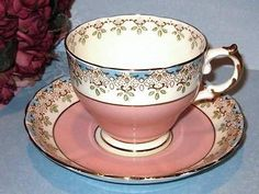 CUP & SAUCER * SALMON PINK BABY BLUE HAND PAINTED TUSCAN ENGLAND TEACUP