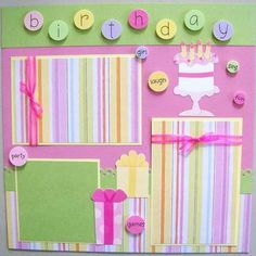Birthday Scrapbook Page, Baby Girl Scrapbook Pages, Birthday Scrapbook Layout, Scrapbook Birthday, Scrapbooking Layout
