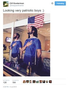 Jensen and Jared being adorable twin man beasts at the Women's World Cup 2015 (Clif's Twitter)