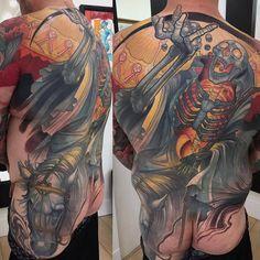 "3,477 Likes, 11 Comments - TattooSnob (@tattoosnob) on Instagram: ""Skeleton Horse by @getmooretattoos in Vancouver Island, British Columbia. #backpiece #skeleton…"""