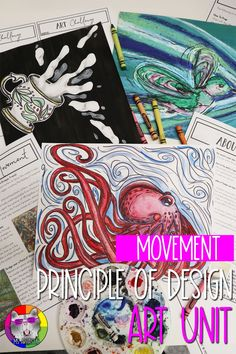 Principles of Design: Movement, Art Unit Teaching the Principle of Design: MOVEMENT with these ideas. Principles Of Design Movement, Principles Of Art, Back To School Art, Middle School Art Projects, Art History Lessons, Art Lessons, Art Curriculum, Creative Artwork, Elements Of Art