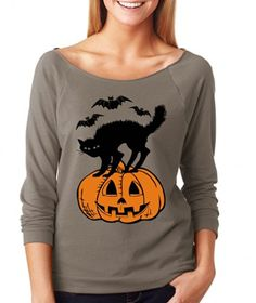SignatureTshirts Women's Halloween Black Cat and Jack-o-lantern Raglan T-shirt is available at #Amazon online store. Visit to check product details and price.