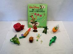 Lot of Disney PETER PAN tinkerbell captain hook book ship toys figures A USED #Disney