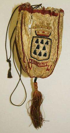 18th century, France - Purse - Leather, silk