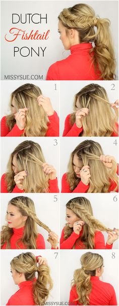 Dutch Fishtail Pony Fishtail Ponytail, Fishtail Braid Tutorials, How To Fishtail, Fancy Ponytail, Dutch Fishtail Braid, How To Braid Hair, Braided Updo, Top Braid, Ponytail Hairstyles Tutorial