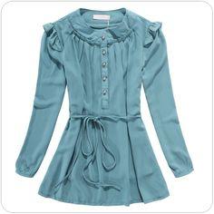 asian fashion office ladies chiffon blouse k801 LightBlue - $10.90