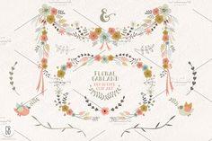 Floral garland, flower wreath, birds by GrafikBoutique on @creativemarket