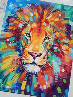 """Sandra Trubin - Abstracted Lion Acrylic on 11x14"""" canvas board. I think I may have created my favorite painting ever! :D"""