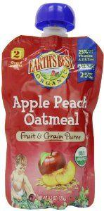 Earth's Best Organic Fruit & Grain Puree Baby Food, Apple Peach Oatmeal, 4.2 Ounce (Pack of 12)