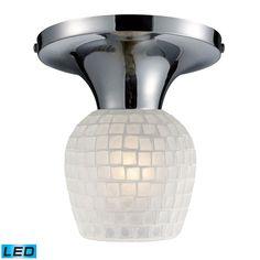 Celina 1 Light LED Semi Flush In Polished Chrome And White 10152/1PC-WHT-LED