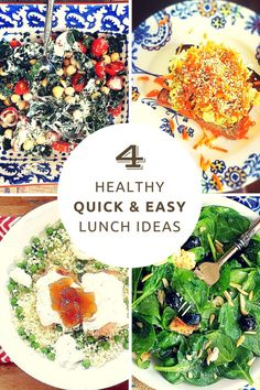 Craving quick and easy, healthy lunch ideas? You'll love these 4 delicious and nourishing lunches made with a few leftovers, plus pantry staples that you can whip up in 10 minutes or less. | All recipes are gluten-free,