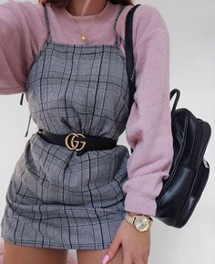 Lilac Fleece Long Sleeve Under Spaghetti Strap Grey Plaid Dress w/ Gucci Belt ❤️