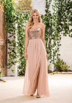 Modcody Offers sweetheart long rose gold bridesmaid dresses with sequins top and side slit. More Rose Gold Bridesmaid Dresses Here. Jasmine Bridesmaids Dresses, Sequin Bridesmaid Dresses, Rose Gold Dresses, Peach Dresses, Blue Bridesmaids, Dama Dresses, Prom Dresses, Jasmine Bridal, Wedding Party Dresses