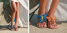 Nadia Blue Sandal and Nadia Orange Sandal! If you like butterflies, wear one and fly! BonbonSandals
