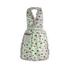 Design Imports Cheri Cherry Vintage Apron, Cherry Red ($36) ❤ liked on Polyvore featuring home, kitchen & dining, aprons, cherry red, pocket apron, red apron and vintage aprons