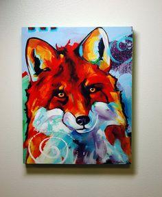 Red Fox Art  Wood Panel Print by Corina St by CorinaStMartinArt