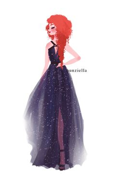 Merida prom dress by punziella on tumblr - because I saw this frickin' post like 10 times in a row, I decided to draw the four seasons wearing the dresses ;P