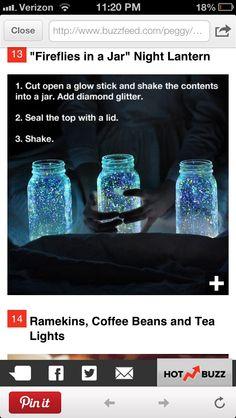 Mason Jars and Glow Stick Contents