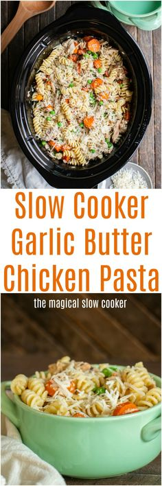 Slow Cooker Garlic Butter Pasta Cozimento by Divonsir Borges Slow Cooker Huhn, Crock Pot Slow Cooker, Slow Cooker Recipes, Cooking Recipes, Crock Pot Food, Crockpot Dishes, Crockpot Meals, Crock Pots, Pasta Recipes