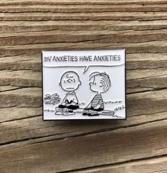 Peanuts My Anxieties Have Anxieties Soft Enamel Pin by Heartificial