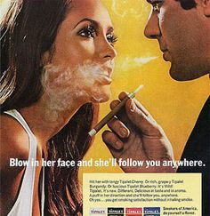 LOL! A 1970's ad. And this is crazy, a new study revealed that nicotine rates in cancer sticks have actually been going up.  Nearly all cigarette brands have 10-20% more nicotine now than they did in 2000.      http://www.businessinsider.com/brilliant-marketing-schemes-that-rocked-the-world-2010-8#cigarette-companies-added-in-nicotine-to-keep-smokers-hooked-and-the-levels-keep-increasing-10#ixzz1ovALMUMO