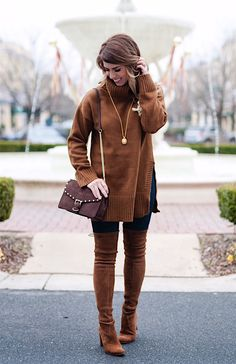 craving chocolate, chocolate sweater, chocolate purse, stuart weitzman highland boot, rebecca mink off purse, all chocolate everything, chocolate fashion, fall fashion, fall outfit inspired, turtleneck sweater, chocolate turtleneck sweater, julie vos necklace, winter fashion, winter outfit inspiration