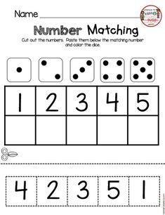 NUMBER MATCHING - back to school in kindergarten worksheet - practice CAP and matching - cut and paste numbers and counting #kindergarten #backtoschool #labeling