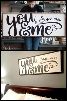 You and Me Since Established Sign #Farmhouse #FixerUpper #Rose #Rustic #Ad #Cottage #Country #HomeDecor #Sign #WoodSign #Wedding #Marriage #WallArt #EstablishedSign #Love #Marriage #Family