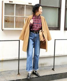 select MOCA(セレクトモカ)の「フリルスタンドカラーコットンブレンドバックボタン付きチェック柄ブラウス(シャツ・ブラウス)」 - WEAR Mom Jeans, Normcore, How To Wear, Pants, Style, Fashion, Trouser Pants, Swag, Moda