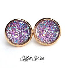 """3 for 15🎀light purple iridescent Drusy style stud PLEASE DO NOT BUY THIS LISTING.💕Please comment """"Bundle"""" under the items you'd like so I can make a listing. 😊 Handmade by me Drusy style 1/2 inch 12mm earrings in gold plated frame. Gold backs. 3 pairs for $15. Minimum charge $15. Additional pairs $5. Price firm. Can mix/match any 3 for 15 items. Each piece varies slightly in shape. Glitter/ sea salt texture. Bead often has tiny gap when placed on setting. Made of acrylic resin. 🚫Add to…"""