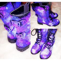 Galaxy Shoes Nebula Space Boots Women's Shoes Galaxy Print Combat... ($70) ❤ liked on Polyvore featuring shoes, boots, ankle booties, light purple, women's shoes, buckle boots, military boots, buckle booties, army combat boots and lavender boots