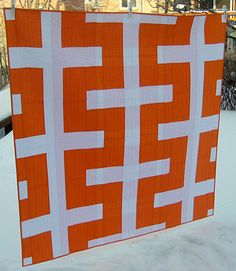 "Super-great and ultra-geometric ""Equilibrium"" quilt by  Cinzia Allocca of Deux Petites Souris."