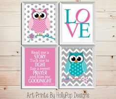 Owl Nursery Decor-Read me A Story Tuck Me in Tight-Baby Girl Nursery Wall Art-Inspirational Nursery Quote-Bright Pink Turquoise Wall Decor By HollyPopDesigns on Etsy.com $43.00