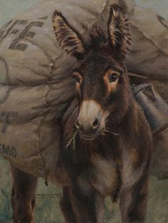 I Brought Coffee by William Suys Oil ~ 12 x 9 - donkey painting
