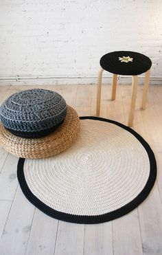 Items similar to Round Rug Floor Crochet on EtsyStool and round carpet crochet ideacarpetingBorder carpet in NaturWayfair.deArticles similar to Round Rug Boden crochet on Etsy Pouf and Round Rug Boden crochet IdeeTeppiche Bordürezugich Pouf En Crochet, Knitted Pouf, Types Of Sofas, Types Of Rugs, Cotton Cord, Bean Bag Sofa, Fabric Yarn, Diy Carpet, Round Coffee Table