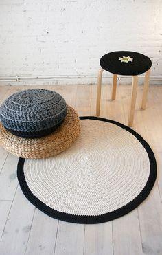 Round Rug floor crochet 90cm por lacasadecoto en Etsy, €78.00