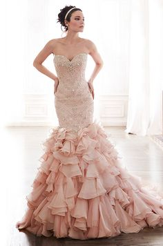 Glamorous blush color tulle and organza wedding dress. Maggie Sottero, Spring 2015