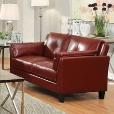Furniture of America Clive Leatherette Loveseat - Sofas & Loveseats at Hayneedle