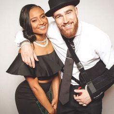 Kansas City Chiefs star Travis Kelcie and his girlfriend Kayla Nicole ❤ Gorgeous interracial couple #love #wmbw #bwwm #swirl #NFL