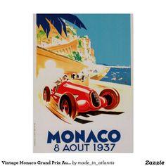 Vintage Monaco Grand Prix Automobile 1937 Poster