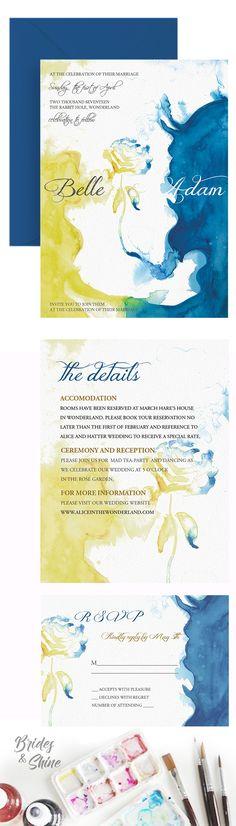 Beauty and Beast Wedding Invitation- Disney watercolor artwork Disney Wedding Invitations, Watercolor Wedding Invitations, Wedding Invitation Suite, Invitation Ideas, Invites, Wedding Things, Wedding Stuff, Dream Wedding, Wedding Ideas