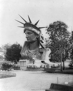 statue of liberty head on exhibit at the Paris World's Fair, 1878