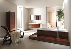 Bathroom Design - Large and open bathroom. Furnitures and bathroom fixtures from Duravit, Germany Modern Contemporary Design, Dream Bathrooms, Wooden Bathroom Cabinets, Bathroom Styling, Open Living Room, Bathroom Design Luxury, Luxury Bathroom, Duravit, Beautiful Bathrooms