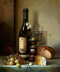 still life with riesling, cheese and grapes - Hungarian artist Zoltan Preiner (born 1955 in Budapest, Hungary). Cheese Art, Wine Cheese, Painting Still Life, Still Life Art, Still Life Photos, Art Corner, Wine Art, Tea Art, Fruit Art