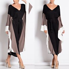 "X ""Musings"" Colorblock Loose Jumpsuit Loose jumpsuit with kimono sleeves and a tie waist. True to size. Brand new. PRICE FIRM. NO TRADES. Bare Anthology Pants Jumpsuits & Rompers"