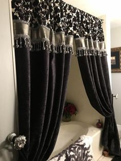 Finish off your Bathroom Decor with a Custom Decorative Shower Curtain by Reilly-Chance! Most any of our fabrics can be styled as shower curtains. If you would like help deciding which. Double Swag Shower Curtain, Shower Curtain With Valance, Luxury Shower Curtain, Black Shower Curtains, Luxury Curtains, Elegant Curtains, Custom Shower Curtains, Dining Room Curtains, Living Room Drapes
