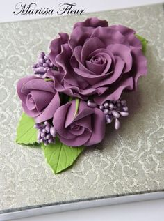 Nylon Flowers, Paper Flowers Diy, Paper Roses, Flower Crafts, Fabric Flowers, Flower Art, Fondant Flower Tutorial, Cold Porcelain Flowers, Flower Spray