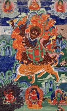 Tibetan Buddhist Thangka of Dorje Drolo (one of Guru Rinpoche's 8 manifestations). He brought the Dharma to Bhutan in this form arriving at Taktsang Monastery.