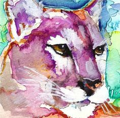 Mountain Lion (Cougar) Watercolor Painting Print, Artist-Signed