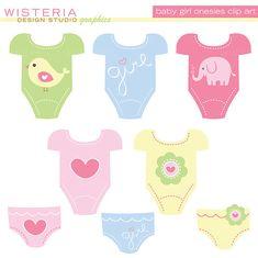 Baby Boy & Baby Girl Design Set Clip Art by WisteriaDesignStudio